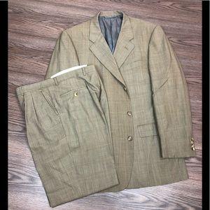 Hickey Freeman Tan Glen Plaid Suit 42L Long